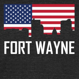 Fort Wayne Indiana Skyline American Flag - Unisex Tri-Blend T-Shirt by American Apparel