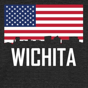Wichita Kansas Skyline American Flag - Unisex Tri-Blend T-Shirt by American Apparel