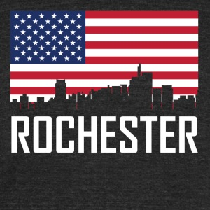 Rochester Michigan Skyline American Flag - Unisex Tri-Blend T-Shirt by American Apparel