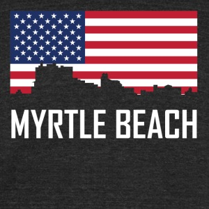 Myrtle Beach South Carolina Skyline American Flag - Unisex Tri-Blend T-Shirt by American Apparel