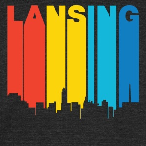 Retro 1970's Style Lansing Michigan Skyline - Unisex Tri-Blend T-Shirt by American Apparel