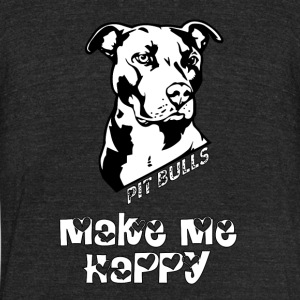 Pit Bulls Make Me Happy T Shirt - Unisex Tri-Blend T-Shirt by American Apparel