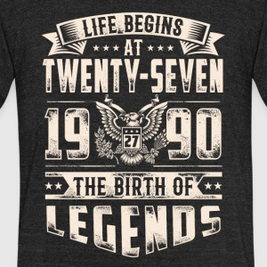 Life Begins at Thirty-Seven Legends 1990 for 2017 - Unisex Tri-Blend T-Shirt by American Apparel
