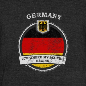Germany It's Where My Legend Begins - Unisex Tri-Blend T-Shirt by American Apparel