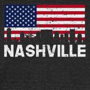 Nashville TN American Flag Skyline Distressed - Unisex Tri-Blend T-Shirt by American Apparel