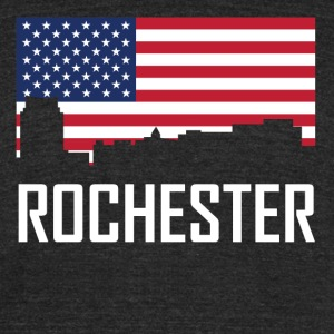 Rochester Minnesota Skyline American Flag - Unisex Tri-Blend T-Shirt by American Apparel
