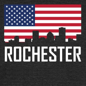 Rochester New York Skyline American Flag - Unisex Tri-Blend T-Shirt by American Apparel