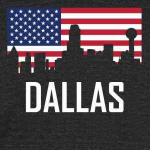 Dallas Texas Skyline American Flag - Unisex Tri-Blend T-Shirt by American Apparel
