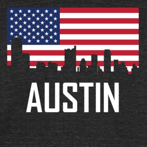 Austin Texas Skyline American Flag - Unisex Tri-Blend T-Shirt by American Apparel