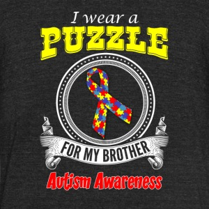 I wear a Puzzle for my Brother - Autism Awareness - Unisex Tri-Blend T-Shirt by American Apparel