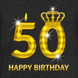50 - Happy Birthday - Golden Number - Unisex Tri-Blend T-Shirt by American Apparel