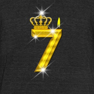 7 - Birthday - Golden Number - Crown - Flame - Unisex Tri-Blend T-Shirt by American Apparel