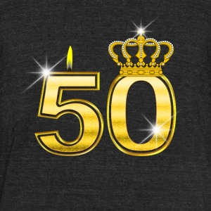 50 - Birthday - Queen - Gold - Flame & Crown - Unisex Tri-Blend T-Shirt by American Apparel