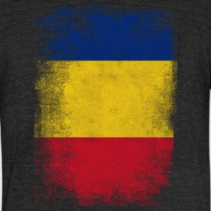 Romania Flag Proud Romanian Vintage Distressed Shi - Unisex Tri-Blend T-Shirt by American Apparel