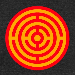 Red and Yellow Target Labyrinth - Unisex Tri-Blend T-Shirt by American Apparel