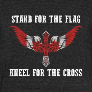 Stand for the flag Canada kneel for the cross - Unisex Tri-Blend T-Shirt by American Apparel