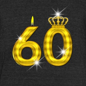 60 - Birthday - Queen - Gold - Flame/Crown 2 - Unisex Tri-Blend T-Shirt by American Apparel