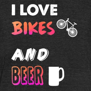 I love bikes and beer - Unisex Tri-Blend T-Shirt by American Apparel