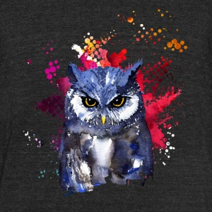 Owl Watercolor T shirt - Unisex Tri-Blend T-Shirt by American Apparel