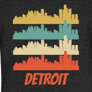Retro Detroit MI Skyline Pop Art - Unisex Tri-Blend T-Shirt by American Apparel