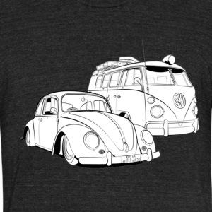 Oldshool Beetle and Bus - Unisex Tri-Blend T-Shirt by American Apparel