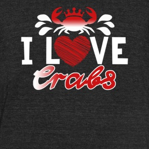 I Love Crabs Shirt - Unisex Tri-Blend T-Shirt by American Apparel