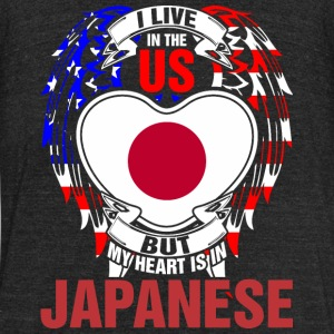 I Live In The Us But My Heart Is In Japanese - Unisex Tri-Blend T-Shirt by American Apparel
