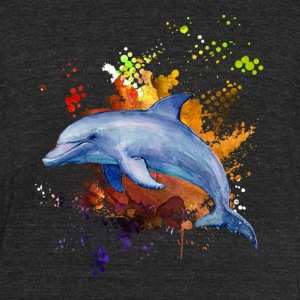 Dolphin Watercolor Cute Shirt - Unisex Tri-Blend T-Shirt by American Apparel