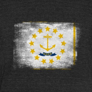 Rhode Island State Flag Distressed Vintage Shirt - Unisex Tri-Blend T-Shirt by American Apparel