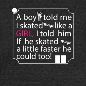 Girl Skater Cool Tee Shirt - Unisex Tri-Blend T-Shirt by American Apparel