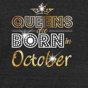 Queens are born in October - Gold - Unisex Tri-Blend T-Shirt by American Apparel