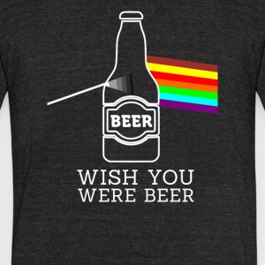 wish you were beer - Unisex Tri-Blend T-Shirt by American Apparel
