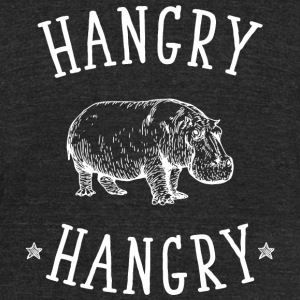 Hippo - Hangry Hangry Hippo - Funny Angry Hungry - Unisex Tri-Blend T-Shirt by American Apparel