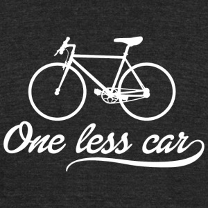 Bicycle - ONE LESS CAR - Unisex Tri-Blend T-Shirt by American Apparel