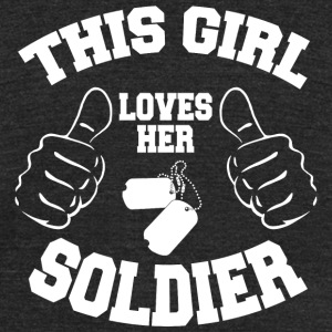 Soldier - this girl loves her soldier - Unisex Tri-Blend T-Shirt by American Apparel