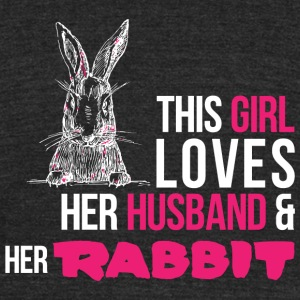 RABBIT - THIS GIRL LOVES HER HUSBAND & HER RABBI - Unisex Tri-Blend T-Shirt by American Apparel
