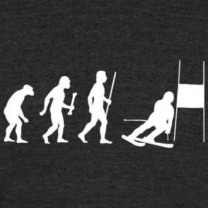 Skiing - Funny Slalom Skiing Evolution Shirt - Unisex Tri-Blend T-Shirt by American Apparel