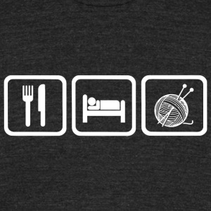 Knitting - Funny Eat Sleep Knitting Repea - Unisex Tri-Blend T-Shirt by American Apparel