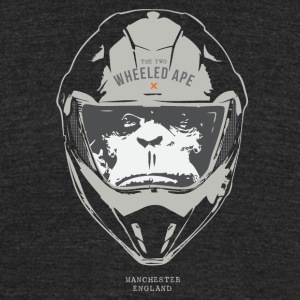 The Two Wheeled Ape Big Head Design Light - Unisex Tri-Blend T-Shirt by American Apparel