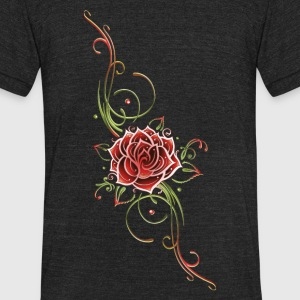 Red rose with leaves and filigree Tribal. - Unisex Tri-Blend T-Shirt by American Apparel