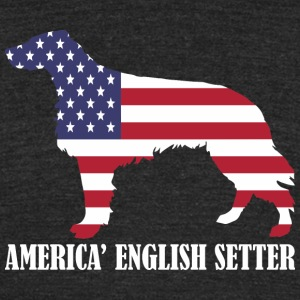 American English Setter Dog Flag Memorial Day USA - T-shirt triple mélange pour hommes