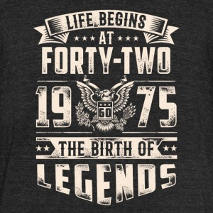 Life Begins At Forty Two Tshirt - Unisex Tri-Blend T-Shirt by American Apparel