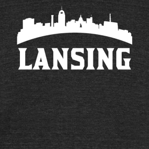 Vintage Style Skyline Of Lansing MI - Unisex Tri-Blend T-Shirt by American Apparel