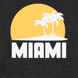 Miami Florida Sunset Palm Trees Beach - Unisex Tri-Blend T-Shirt by American Apparel