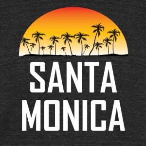 Santa Monica Sunset And Palm Trees Beach Vacation - Unisex Tri-Blend T-Shirt by American Apparel