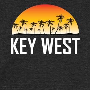 Key West Florida Sunset And Palm Trees Beach - Unisex Tri-Blend T-Shirt by American Apparel