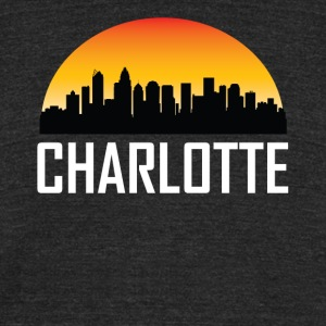 Sunset Skyline Silhouette of Charlotte NC - Unisex Tri-Blend T-Shirt by American Apparel
