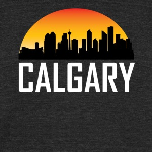 Sunset Skyline Silhouette of Calgary AB - Unisex Tri-Blend T-Shirt by American Apparel