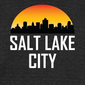 Sunset Skyline Silhouette of Salt Lake City UT - Unisex Tri-Blend T-Shirt by American Apparel