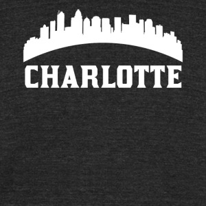 Vintage Style Skyline Of Charlotte NC - Unisex Tri-Blend T-Shirt by American Apparel